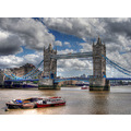 London tower Bridge the Thames River water boats hdr
