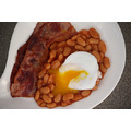 Bacon, baked beans and egg (duck, poached).