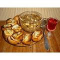 Traditional country winter onion soup olive oil toast with chesse