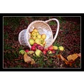 Autumn Fall Apples Basket Fruit Leaves
