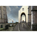 magicrealism village bridge church waiting woman cat bike