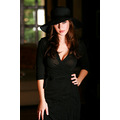 black hat dress model brunette posing