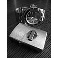 zippo rolex harley davidson watch clock lighter black and white bw
