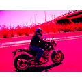 me theodora on the road with my bike ducati 2005 pink version