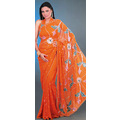 Orange Faux Georgette Saree with Blouse